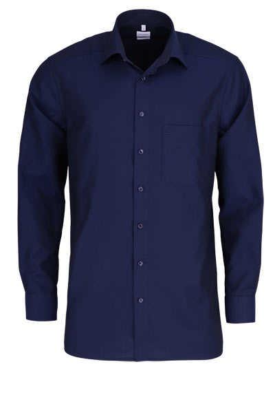 OLYMP Luxor comfort fit Hemd Langarm New Kent Kragen Muster dunkelblau - Hemden Meister