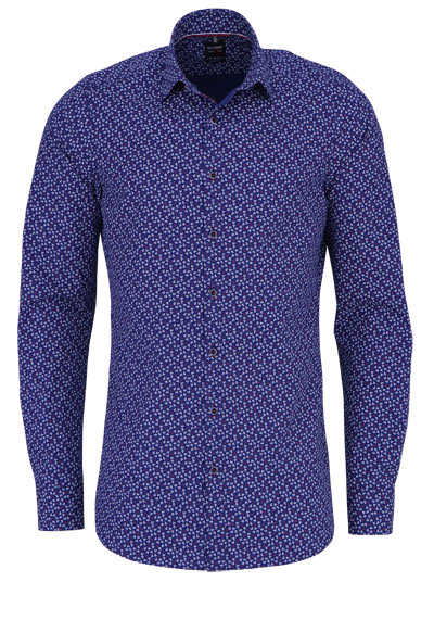 OLYMP Level Five body fit Hemd extra langer Arm Stretch Muster blau - Hemden Meister