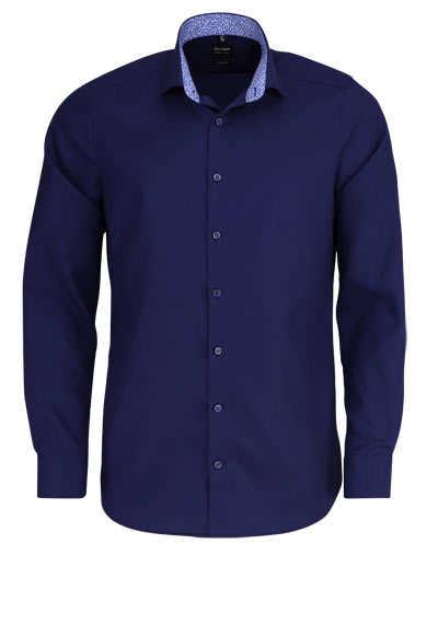 OLYMP Level Five body fit Hemd extra langer Arm Struktur dunkelblau - Hemden Meister