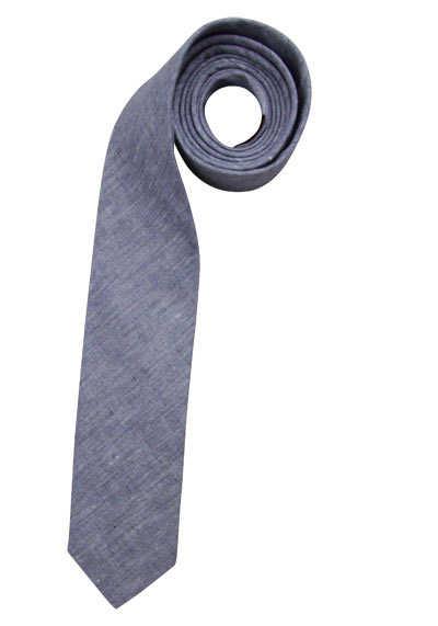 OLYMP Krawatte slim aus Leinen-Baumwoll-Mix rauchblau - Hemden Meister