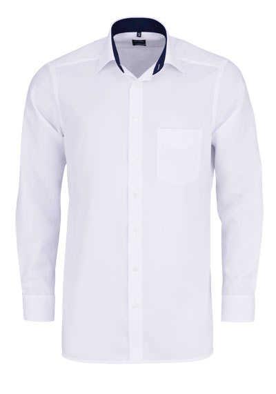 OLYMP Luxor modern fit Hemd Langarm New Kent Kragen Muster weiß - Hemden Meister