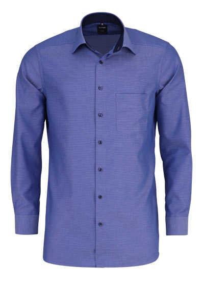 OLYMP Luxor modern fit Hemd Langarm New Kent Kragen Muster blau - Hemden Meister