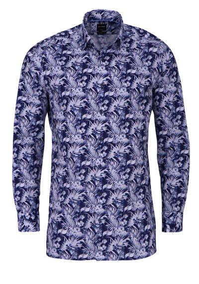 OLYMP Luxor modern fit Hemd extra langer Arm Muster dunkelblau - Hemden Meister