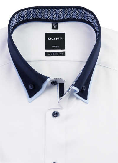 OLYMP Luxor modern fit Herrenhemd Langarm Button Down Kragen Twill weiß