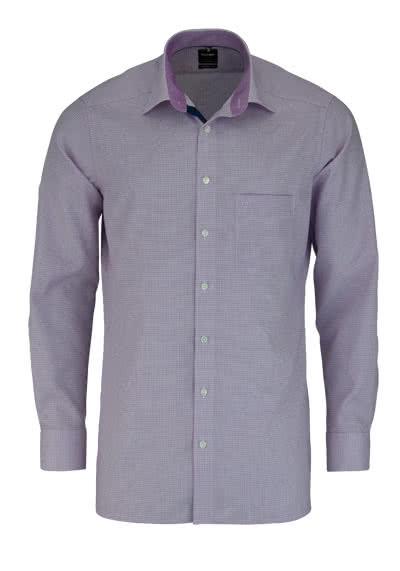 OLYMP Luxor modern fit Hemd extra kurzer Arm Muster rosa - Hemden Meister