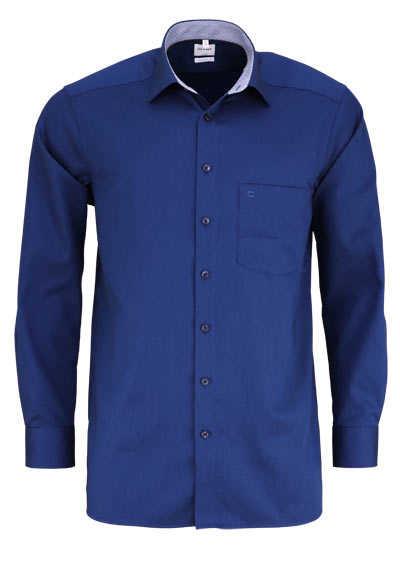 OLYMP Luxor comfort fit Hemd Langarm Struktur dunkelblau - Hemden Meister