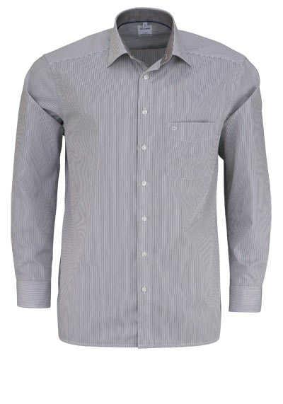 OLYMP Luxor comfort fit Hemd Langarm New Kent Kragen Streifen braun - Hemden Meister