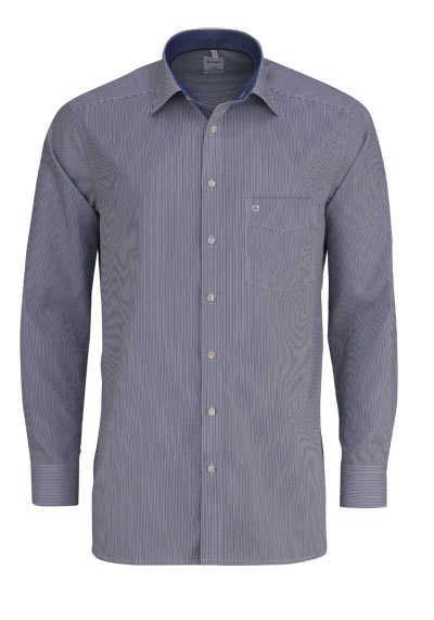 OLYMP Luxor comfort fit Hemd Langarm New Kent Kragen Streifen blau - Hemden Meister