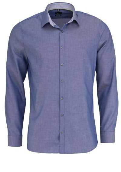 OLYMP No. Six super slim Hemd extra langer Arm Struktur dunkelblau - Hemden Meister