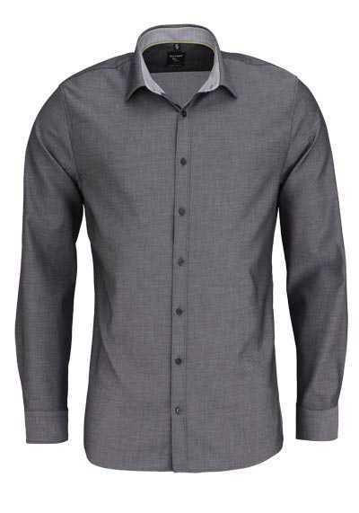 OLYMP No. Six super slim Hemd extra langer Arm Struktur dunkelgrau - Hemden Meister