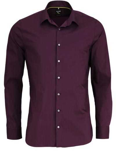 OLYMP No. Six super slim Hemd Langarm Stretch bügelleicht weinrot - Hemden Meister