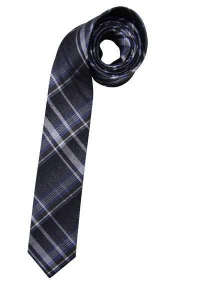 OLYMP Krawatte handgefertigt aus Seide und Baumwolle Karo blau - Hemden Meister