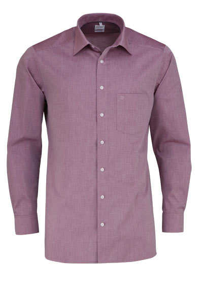 OLYMP Tendenz regular fit Hemd Langarm Muster dunkelrot - Hemden Meister