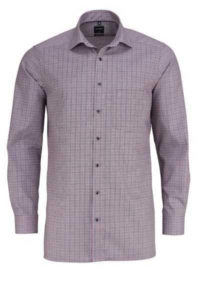 OLYMP Luxor modern fit Hemd extra lager Arm Karo dunkelrot - Hemden Meister