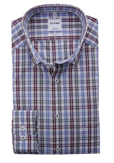OLYMP Tendenz regular fit Hemd Langarm Button Down Kragen Karo hellblau