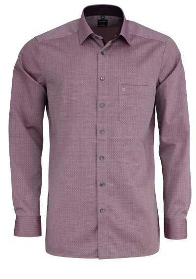OLYMP Luxor modern fit Hemd extra langer Arm Muster weinrot - Hemden Meister