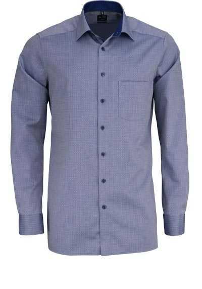 OLYMP Luxor modern fit Hemd extra langer Arm Muster rauchblau - Hemden Meister