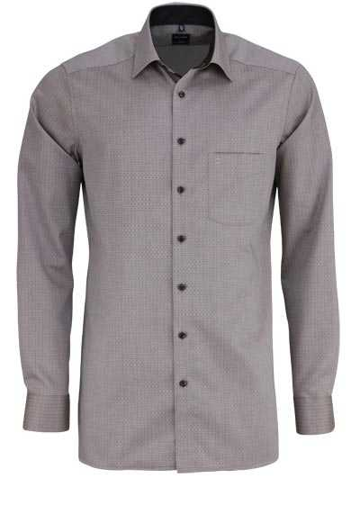OLYMP Luxor modern fit Hemd Langarm New Kent Kragen Muster dunkelbraun - Hemden Meister