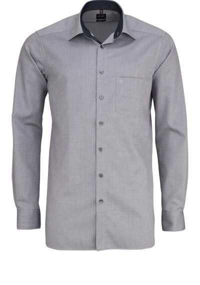 OLYMP Luxor modern fit Hemd extra langer Arm Muster grau - Hemden Meister