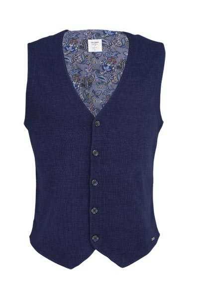 OLYMP Strick Weste ohne Arm V-Ausschnitt Muster/Uni dunkelblau - Hemden Meister