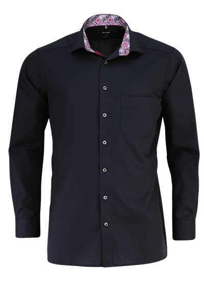 OLYMP Luxor modern fit Hemd extra langer Arm Struktur schwarz - Hemden Meister