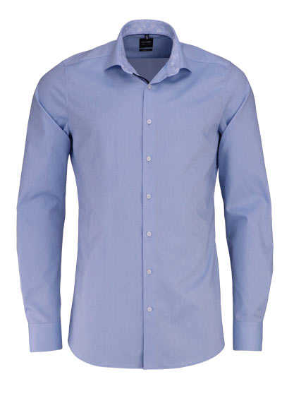 OLYMP Level Five body fit Hemd extra langer Arm Haifischkragen Struktur hellblau - Hemden Meister