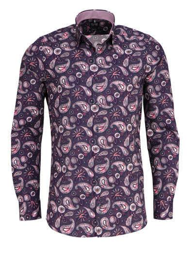 OLYMP Level Five body fit Hemd Langarm Muster rot - Hemden Meister