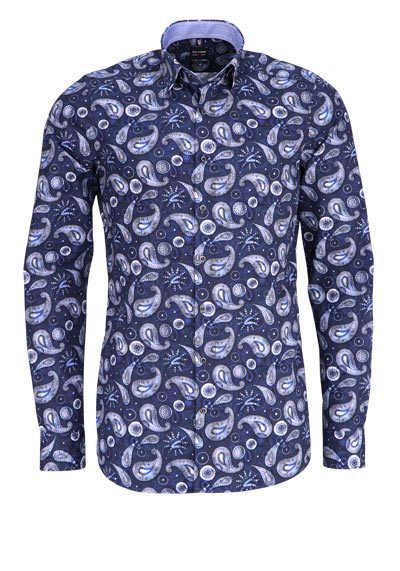 OLYMP Level Five body fit Hemd Langarm Muster blau - Hemden Meister