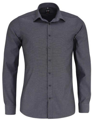 OLYMP Level Five body fit Hemd extra langer Arm Muster grau - Hemden Meister