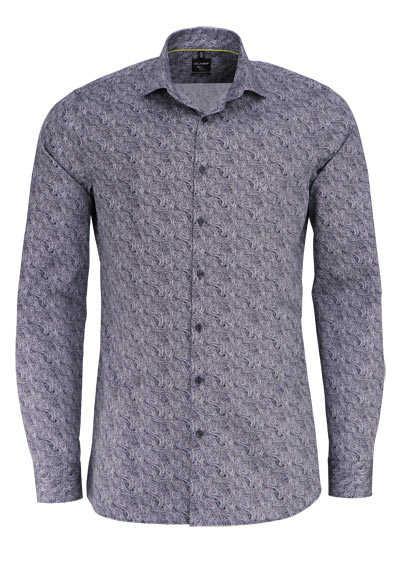 OLYMP No. Six super slim Hemd extra langer Arm Muster schwarz - Hemden Meister