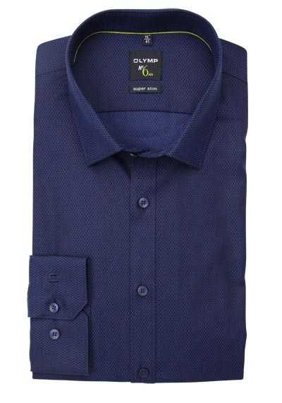 OLYMP No. Six super slim Hemd Langarm New Kent Kragen Muster navy