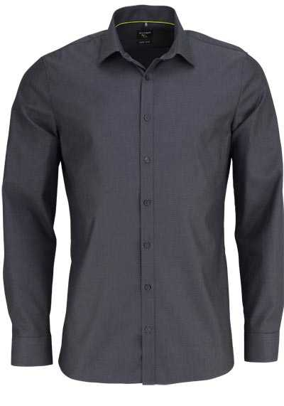 OLYMP No. Six super slim Hemd extra langer Arm Muster dunkelgrau - Hemden Meister