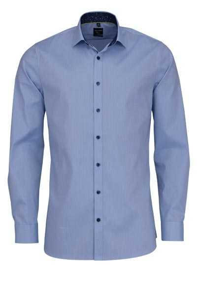 OLYMP No. Six super slim Hemd extra langer Arm Muster blau - Hemden Meister
