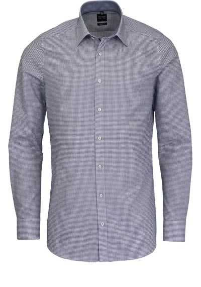 OLYMP Level Five body fit Hemd extra langer Arm Karo dunkelblau - Hemden Meister