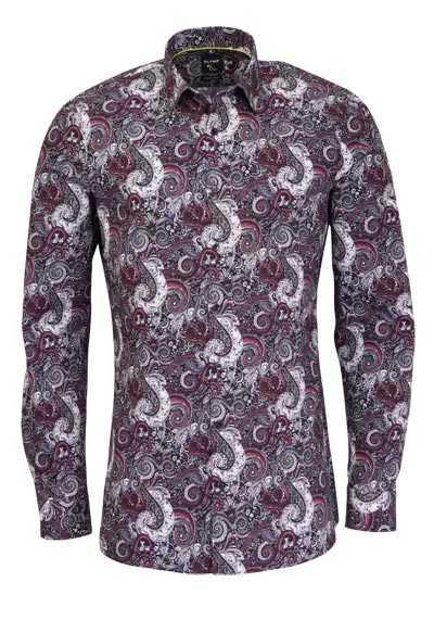 OLYMP No. Six super slim Hemd Langarm New Kent Kragen Muster rot - Hemden Meister