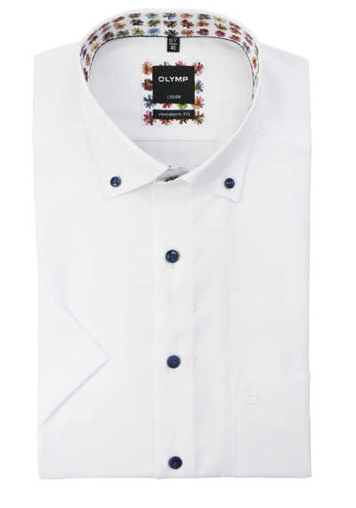 OLYMP Luxor modern fit Herrenhemd Halbarm Button Down Kragen weiß