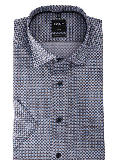 OLYMP Luxor modern fit Hemd Halbarm Under Button Down Kragen Muster blau