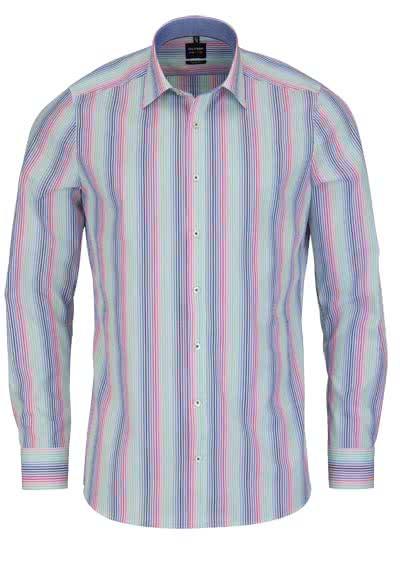 OLYMP Level Five body fit Hemd Langarm mit Besatz Streifen bunt - Hemden Meister