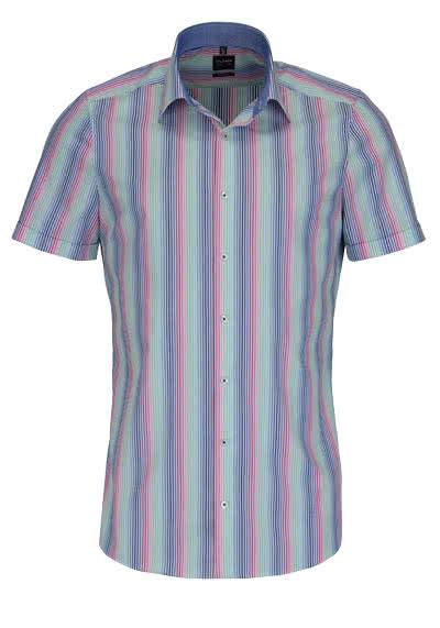 OLYMP Level Five body fit Hemd Halbarm mit Besatz Streifen bunt - Hemden Meister