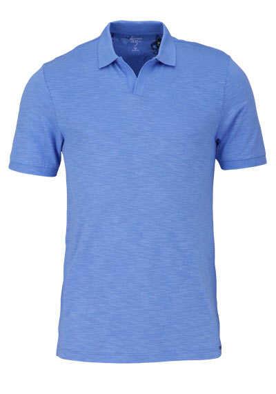 OLYMP Level Five Poloshirt Halbarm geknöpfter Kragen mittelblau - Hemden Meister