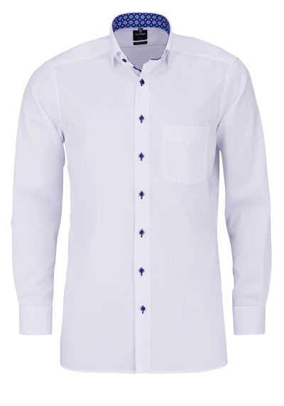 OLYMP Luxor modern fit Hemd Langarm Brusttasche Struktur weiß - Hemden Meister