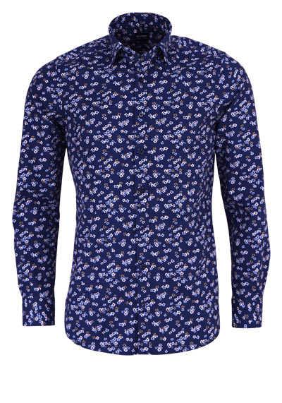 OLYMP Level Five body fit Hemd Langarm Muster dunkelblau - Hemden Meister