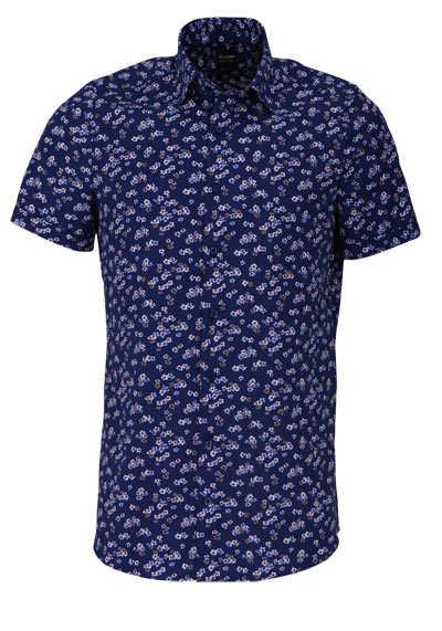 OLYMP Level Five body fit Hemd Halbarm Muster dunkelblau - Hemden Meister