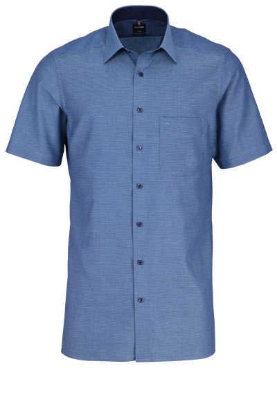 OLYMP Luxor modern fit Hemd Halbarm New Kent Kragen Muster grün - Hemden Meister