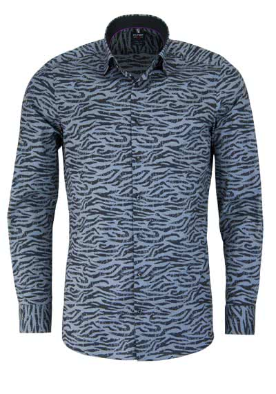OLYMP Level Five body fit Hemd extra langer Arm Zebraoptik grau - Hemden Meister
