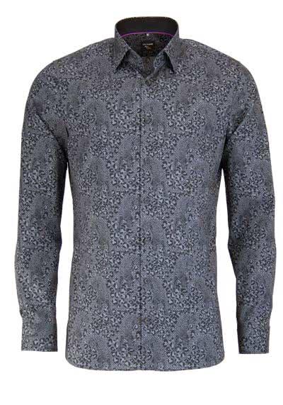 OLYMP No. Six super slim Hemd extra langer Arm Muster anthrazit - Hemden Meister