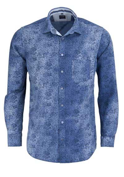 OLYMP Casual Hemd Langarm New Kent Kragen Muster dunkelblau - Hemden Meister