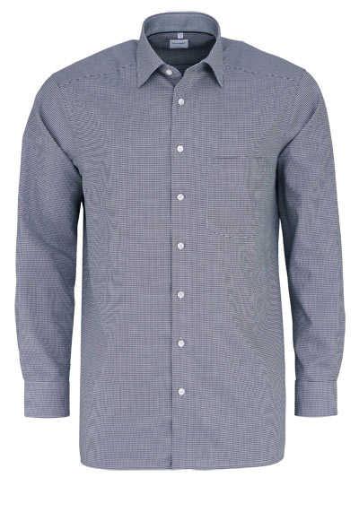 OLYMP Luxor comfort fit Hemd Langarm New Kent Kragen Muster schwarz - Hemden Meister