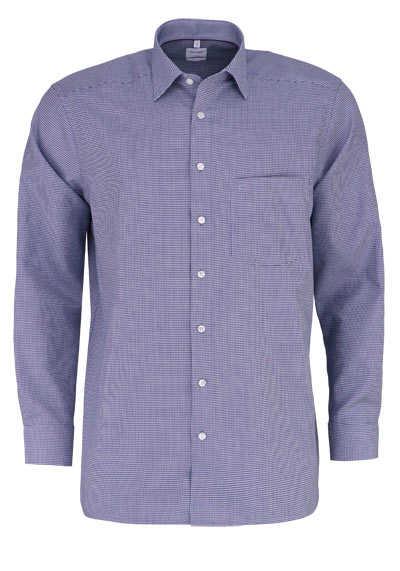 OLYMP Luxor comfort fit Hemd Langarm New Kent Kragen Karo dunkelblau - Hemden Meister