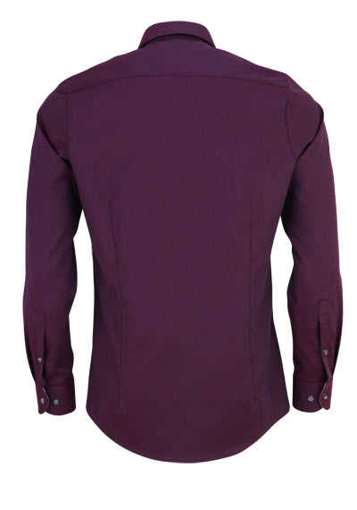 OLYMP Level Five body fit Hemd extra langer Arm Struktur aubergine